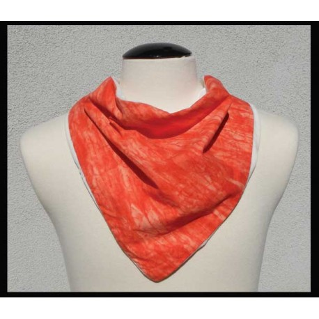 Orange Flame cotton on Natural bamboo velour
