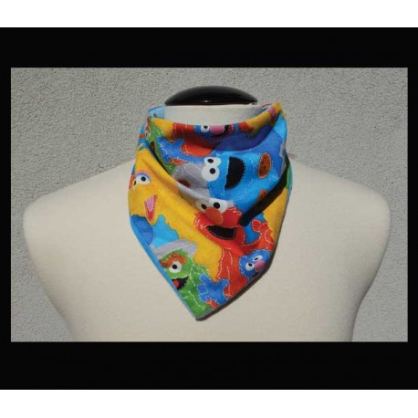 Colorful Characters on Powder Blue bamboo velour Petite Rogey Scarf