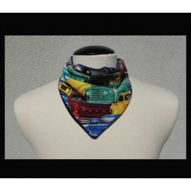 Vintage Cars on Navy bamboo velour Petite Scarf
