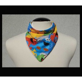 Colorful Characters on Natural bamboo velour Petite Scarf