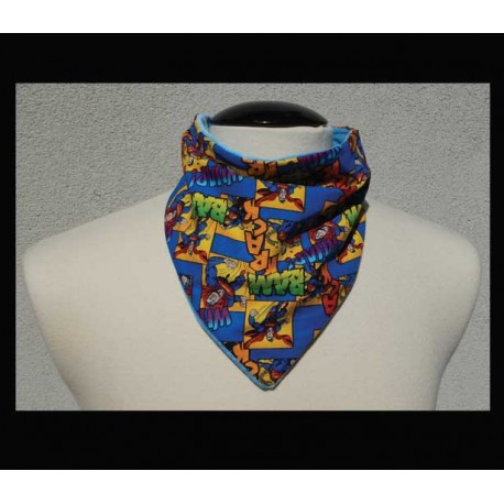 "Comic ""POW"" cotton on Powder Blue bamboo velour Petite Scarf"