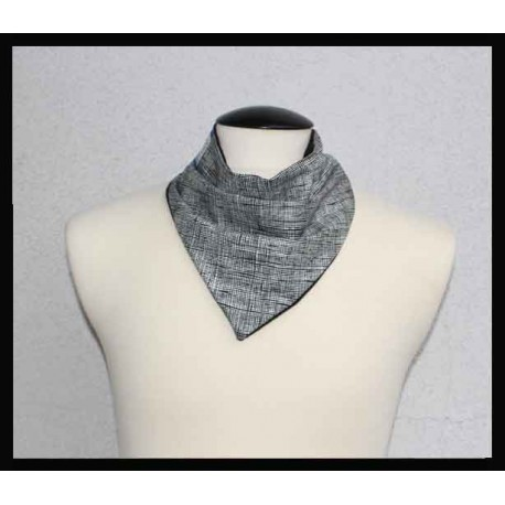 Black Houndstooth style cotton & Black Bamboo Jersey Petite Scarf