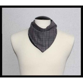 Grey Striped Flanel & Black Bamboo Jersey Petite Scarf