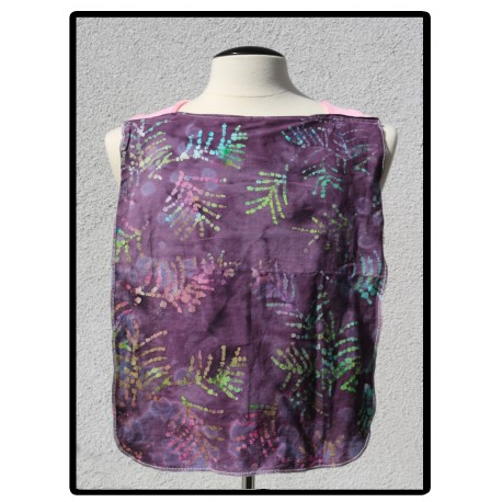 LaLa Clothing Protector_Puple Batik with Pink Bamboo Velour
