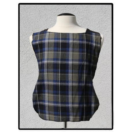LaLa Clothing Protector_Blue Black block Flannel with Black Bamboo Jersey