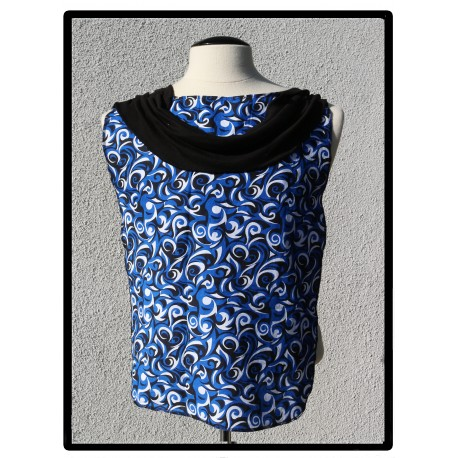 LaLa Clothing Protector_Blue Swirl Cowl with Black Bamboo Jersey