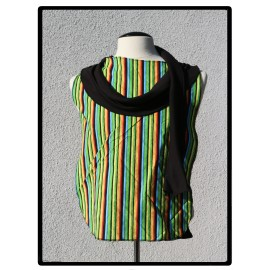 LaLa Clothing Protector_Bright Strip Cowl with Black Bamboo Jersey